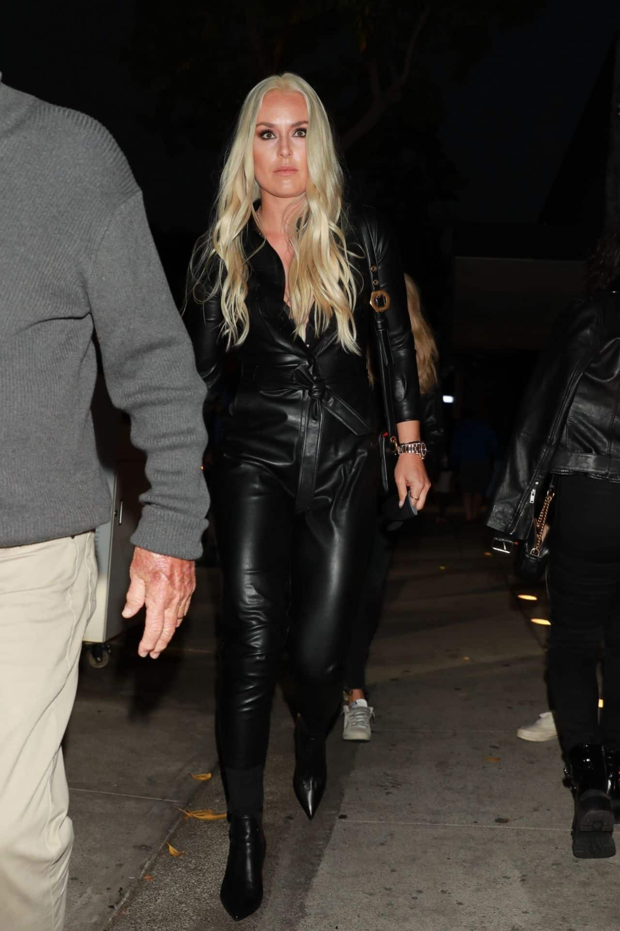 Lindsey Vonn Looks Stunning in the Leather Outfit at Craig's in WeHo