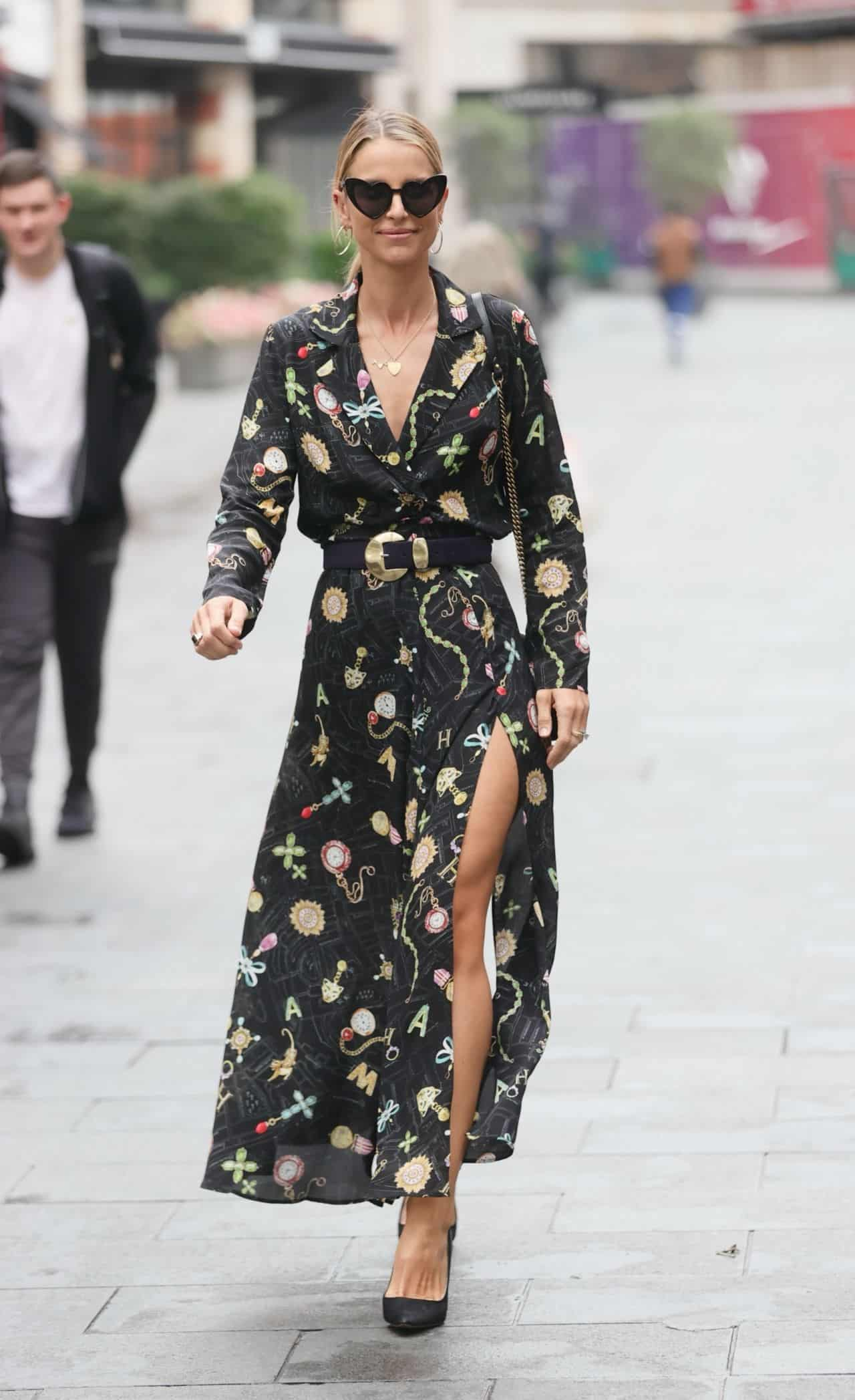 Vogue Williams in a Trendy High Slit Dress in London