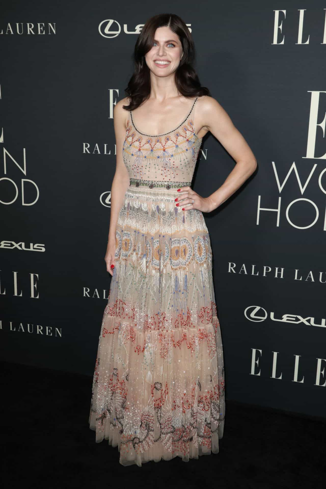 Alexandra Daddario Shines in Dior Dress at Elle Women in Hollywood Event