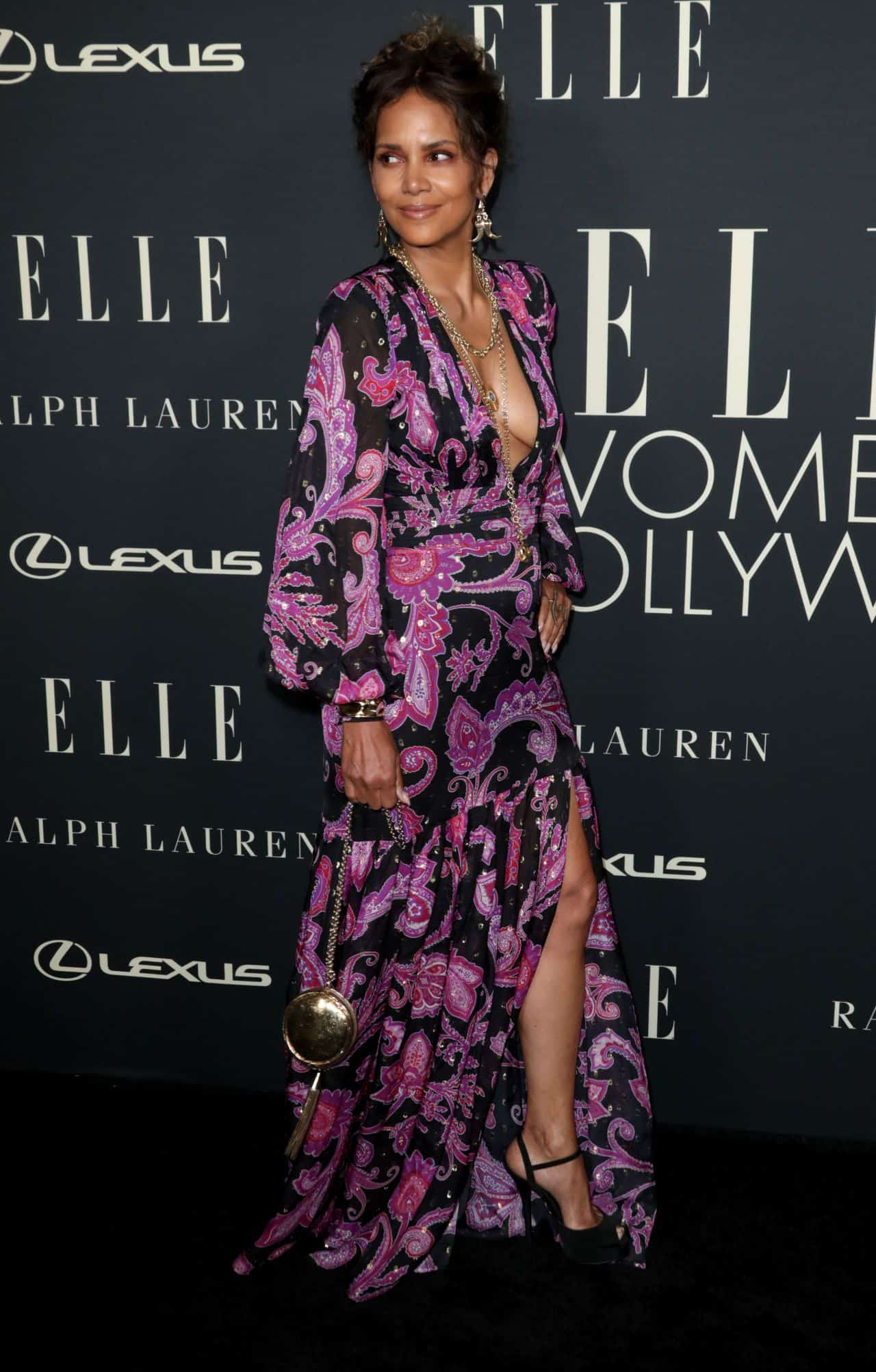 Halle Berry in an Elegant Floral Dress at Elle's Women In Hollywood 2021