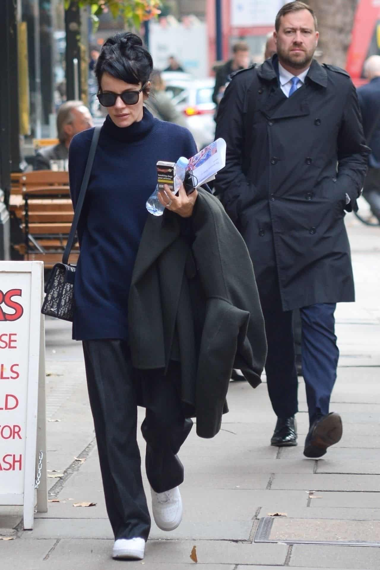 Lily Allen Looks Comfortable in an Oversized Turtleneck Sweater in London